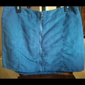 Divided Blue Faux Suede Mini Skirt with Zipper